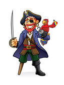 Pirate and Parrot — Vettoriale Stock