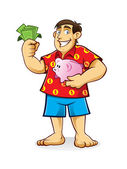 Fat man met piggy bank — Stockvector