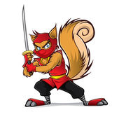 Ninja Squirrel — Vettoriale Stock