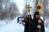 Religious procession on a Christian holiday of the Epiphany — Stock Photo