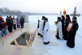 Public prayer on an orthodox holiday of the Epiphany — Stock Photo