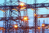 Electric substation in night-time — Stock Photo