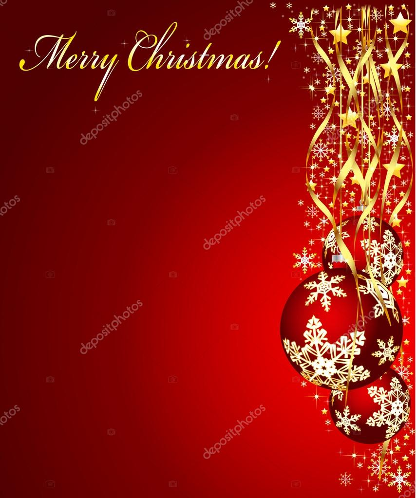 Christmas illustration on a red background. Vector.  — Stock Vector #13374034