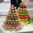 Stock Photo: Two fruit cake with nine tiers