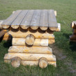 Wooden table and benches — Stock Photo #16220087