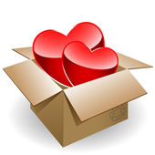 Two hearts in box — Stock Vector
