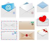Sada poštovních obálek — Stock vektor