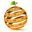 Apple and measuring tape — Stock Vector #28977135