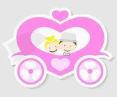 Bruid en bruidegom in een bruiloft vervoer — Stockvector