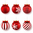 Red christmas balls — Vettoriali Stock