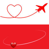 Plane and Heart — Stock Vector