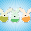 Stock Vector: Three Easter rabbit.