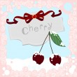 Cherries in the Snow with frame — Stock Vector