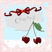 вишни в снегу с рамкой — Cтоковый вектор
