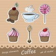 Stock Vector: Set of stickers coffee
