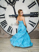 Young beautiful woman in blue wedding dress — Foto de Stock