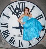 Young beautiful woman in blue wedding dress — ストック写真