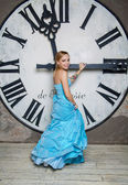 Young beautiful woman in blue wedding dress — Photo