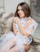 Young bride in lingerie — Photo