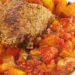 Stock Photo: Italivegetables with turkey steak