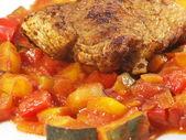 Italian vegetables with turkey steak — Stock Photo