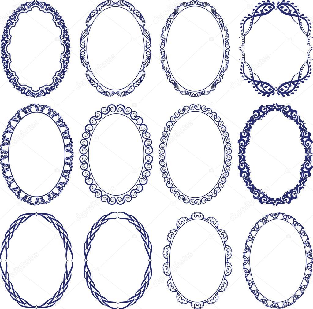 椭圆形边框 — 图库矢量图像08