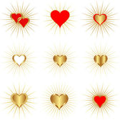 Golden hearts — Stock Vector
