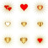 Corações de ouro — Vetorial Stock