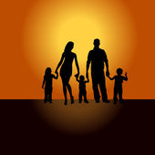 Family silhouette mother father child at sunset. — Stock Vector