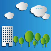 Vector cityscape of green trees and high-rise building — Vettoriale Stock