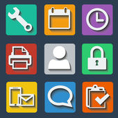 Set of colorful icons with shadow — Stockvektor