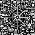 Black background Travel — Stock Vector
