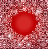 Bakgrund av snöflingor cirkeln rött — Stockvektor