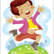 The child jumps — Stock Vector