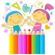 Stock Vector: Children drawing