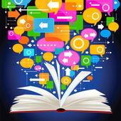 Libro y discurso de burbujas — Vector de stock