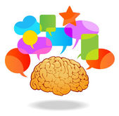 Brain speech bubble — Stock Vector