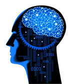 Brain cyber — Stock Vector