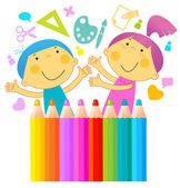 Children drawing — Stock Vector