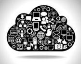 Red social de nube negra — Vector de stock
