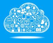 Red social de nube azul — Vector de stock