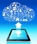 Küresel sosyal ağ tablet — Stok Vektör