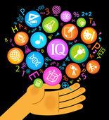 Hand icons school — Stock Vector