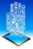 Hand tablet Communication — Stock Vector
