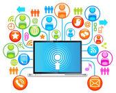 Laptop social network — Stock vektor