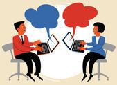 Insanlar internet üzerinden konuşmak — Stok Vektör