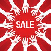Cartel de venta con descuento por ciento — Vector de stock