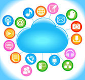 Sociale media wolk — Stockvector