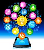 Sociaal netwerk smart-phone — Stockvector