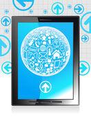 Red social global tablet — Vector de stock